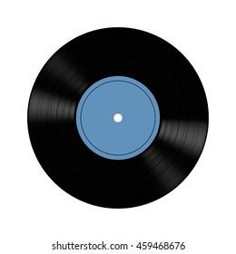 Illustration of vinyl record on gray background.