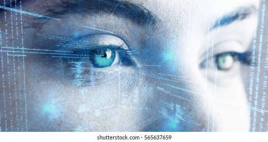 Illustration of virtual data against beautiful eye of woman