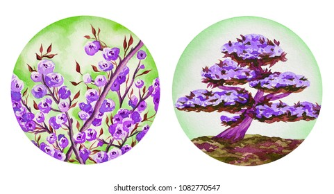 Illustration of watercolor hand drawn landscapes with violet flowers. Branches of cherry, peach, sakura blossom. Bonsai Tree background.View, Landscape, Japanese, Asian, Nature, Lilac, Lavander.