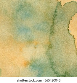 Illustration  of watercolor texture ocher and clear blue. Abstract background of old paper