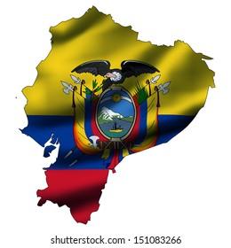 Illustration with waving flag inside map - Ecuador