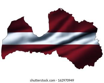 Illustration with waving flag inside map - Latvia