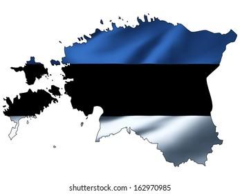 Illustration with waving flag inside map - Estonia