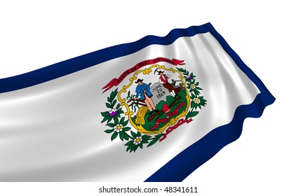 Illustration of West Virginia state flag waving in the wind