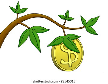 Illustration where a dollar coin growing as a fruit on a tree.