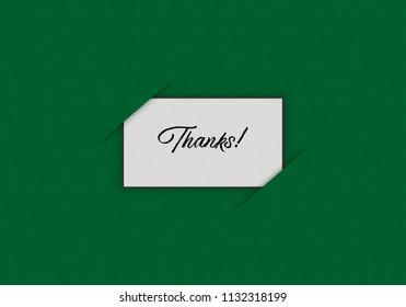 Illustration of White Card over green background written THANKS