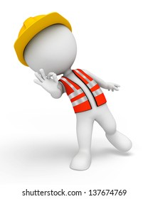 illustration of white character working as road worker