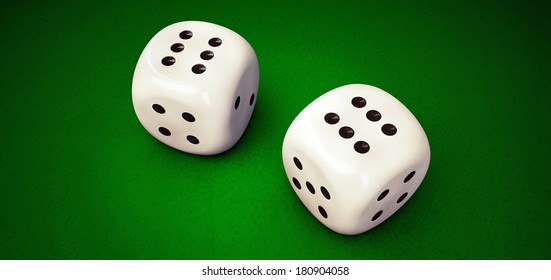 illustration of white dices on green table