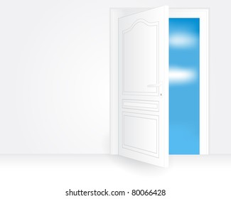 Illustration of a white open door in an empty room