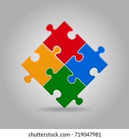 illustration of white puzzle made of little pieces