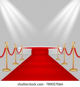 Illustration of white round podium with red carpet and lights. Realistic illustration on transparent background. Red carpet event design element.