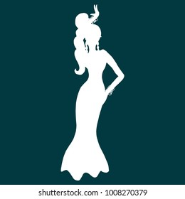 Illustration with white silhouette of woman dancing belly dance. Design template for flyer, invitation, poster or greeting card. Illustration for studio dance