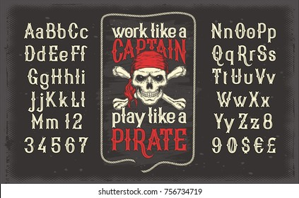 illustration of a white vintage font, the Latin alphabet with retro pirate print with skull and crossbones. Template, design element