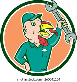 Illustration of a wild turkey mechanic holding clutching spanner set inside circle done in cartoon style on isolated background.