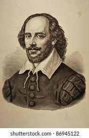"""Illustration of William Shakespeare taken from the """"Dramatic Works by William Shakespeare"""" (Russian Translation) issued in Moscow, Russia in 1880."""