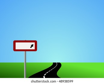 Illustration of winding road and sky with blank road sign