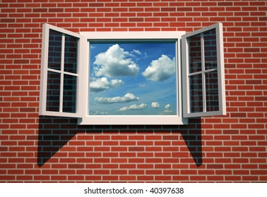 Illustration of an window open to the sky - 3d render