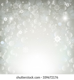 illustration of a winter background with beautiful shiny snowflakes. Christmas cards, banners, background.