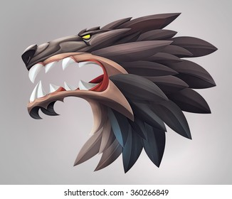 Illustration of wolf head ui icon