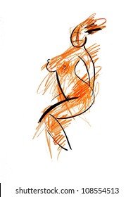 Illustration, Woman, Drawing, pen and ink