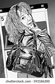 Illustration woman with handbag in front of park note machine black and white