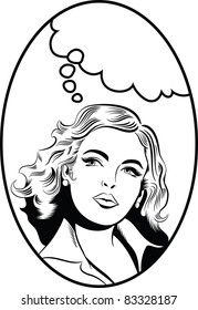 Illustration of a woman thinking