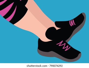 Illustration of a woman wearing running shoes