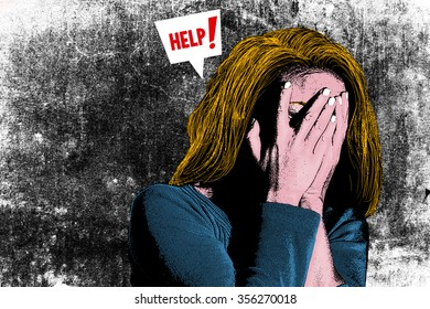 Illustration of woman who needs help