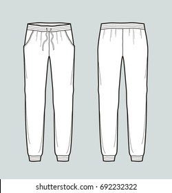 Illustration of women's joggers pants. Front and back. Raster version