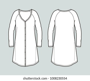 Illustration of women's long sleeved dress with buttons. Front and back. Raster version
