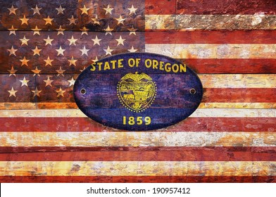 Illustration with a wooden flag of Oregon.