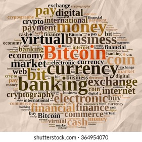 Illustration with word cloud relating to Bitcoin.