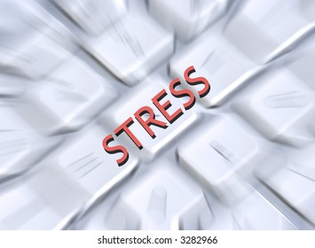 Illustration of the word stress overlaid onto blurred computer keyboard