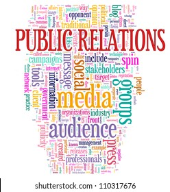 Illustration of Word tags of public relations