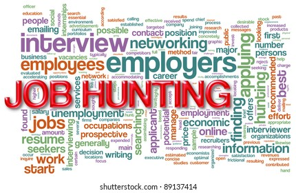 """Illustration of wordcloud related to """"job hunting"""""""