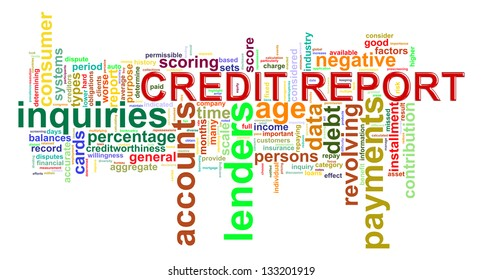 Illustration of wordcloud word tags of credit history report