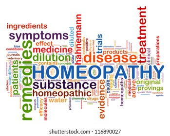 Illustration of wordcloud word tags of  homeopathy