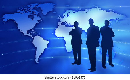 Illustration - Work team on abstract global map background