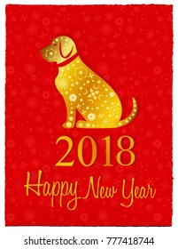 Illustration of the year of the dog. Happy Chinese New Year, 2018.