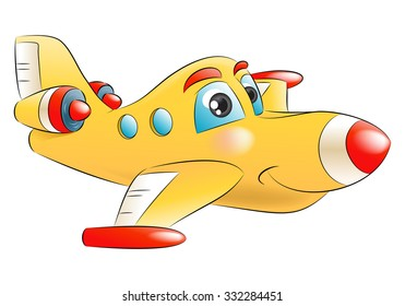 Illustration of a yellow jet plane flying away to destination on isolated white background