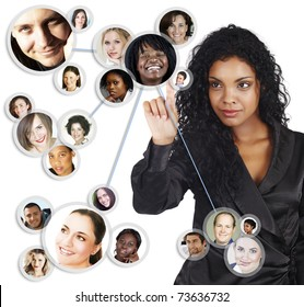 illustration of a young African American businesswoman sorting her social network of friends and clients.