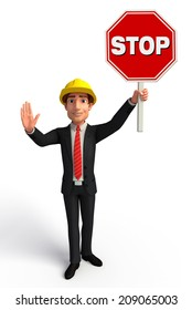Illustration of Young Business Man with Stop sign