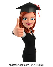 Illustration of young Business Woman with graduate hat