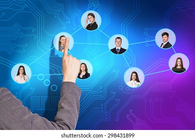 illustration of a young caucasian businesswoman sorting her social network of friends and clients.
