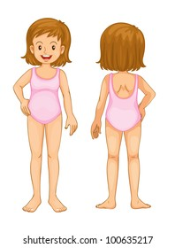Illustration of young girl front and back - EPS VECTOR format also available in my portfolio.