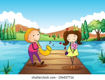 Illustration of a young man serenading her girlfriend at the riverbank