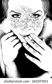 Illustration of young woman smoking