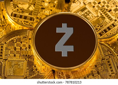 Illustration of Zcash coin on gold background to illustrate blockchain and cyber currency