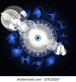 illustration of zodiac signs in the area around the eyes with a clarification, drawings and symbols correspond to the name on the sign of the horoscope.