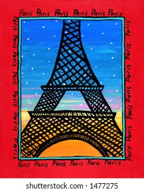 Illustration/Painting of Eiffel Tower Paris